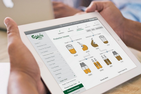 Close-up of tablet showing production volume decision in bespoke FMCG simulation